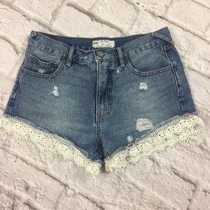 Free People High Waisted Lace Denim Shorts Sz 25
